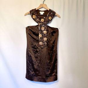 La Rok Women Silk Brown Wooden Dress